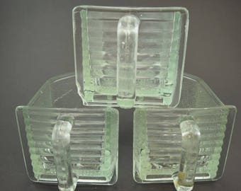 3 large German glass scoops / glass jars / glass drawers / pourer for kitchen cabinet / shabby / vintage