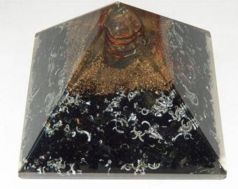 "Large 4"" ORGONE Black Tourmaline Crystal Energy GENERATOR Pyramid, Orgonite, Copper Coil, Orgonite Sacred Geometry"