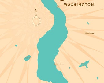 Lake Sammamish, WA Map - Canvas Print