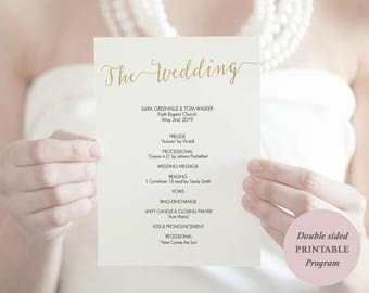 Gold Program Template Printable - Instant Download - Gold Wedding Ceremony Program - Gold Foil -5 x 7 inches double sided - #GD0812