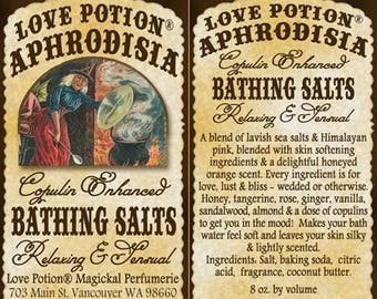 Love Potion: Aphrodesia w/ Copulins - Bathing Salts - Love Potion Magickal Perfumerie