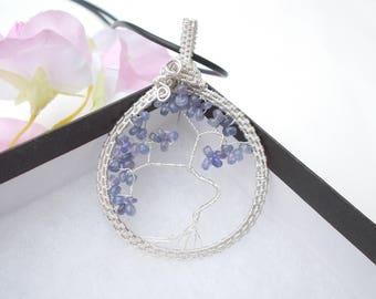 Tanzanite pendant , tree of life pendant , wire wrapped pendant , wire wrapped jewelry , tree of life ,  birthstone jewelry , tanzanite