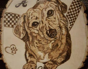 Personalized Custom Wood Burning of Dog (Example)