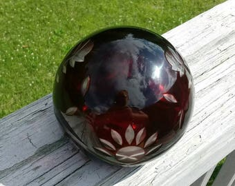 Vintage ruby cut to clear glass orb