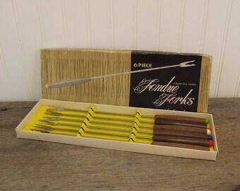 Fondue Forks, Vintage Fondue Forks, Colorful Fondue Forks, Set of 6