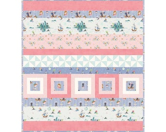 "Fantasy Row Pattern by Sandra Workman Featuring Neverland Fabric by Riley Blake Designs- Finished Quilt Size 40"" x 54"""