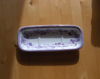 Vintage violet transferware soap dish