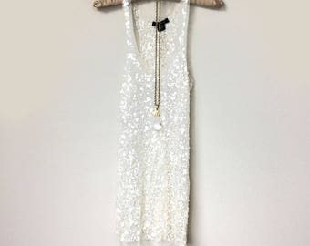 Beautiful Hand Beaded White Sparkly Sequins Sheer White Tank Top Tank Top, Boudoir Tank Top, Great Gatsby, Art Deco, Vintage Boho Summer