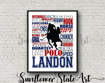 Personalized Polo Poster Typography, Polo Player Gift, Polo Gift, Custom Polo, Gift for Polo Player, Gift for Polo Team, Polo Team Gift
