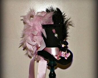On Sale- Black Pink Mini Top Hat Fascinator Tea Party Steampunk Mad Hatter White Gothic Cosplay Costume Bridal Wonderland