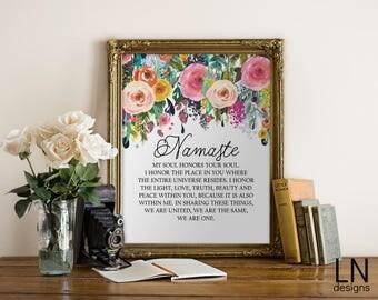Instant NAMASTE Printable Art 8x10 Digital file Typography Wall Art Inspirational Art Yoga Motivation Print