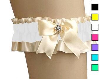 Bridal wedding garter, ivory garter wedding, satin bridal garter, wedding lingerie, handmade bridal garter, plus size garter  020