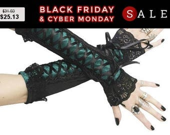 Black long fingerless gloves arm warmers goth burlesque, bohemian gothic bridal glove womens evening gloves victorian vampire lolita 0340-12