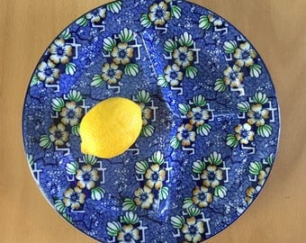 Lovely vintage John Steventon of England Luxor divided dinner plate circa 1930s Chinese blue flowers for tropical Old Florida home!