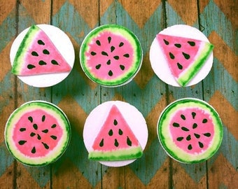 Watercolor Watermelon Fondant Cupcake Toppers: Set of 6 (MADE TO ORDER)