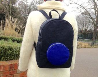 Blue Dot Backpack, Waterproof Cotton Canvas Rucksack, Handmade, Screen Print, Black and blue