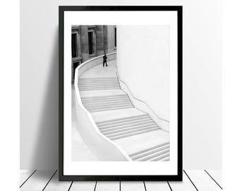 London Print, street photography, Black and White Photography Print, Staircase, Stairs, Minimalist Print, Fine Art Prints, British Museum