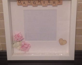 Daughters scrabble and flower photoframe