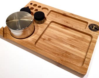"""Tree of Life Bamboo Rolling Tray - Thick Natural Wood 6 x 9 and 3/4"""" thick  - High Quality with a smooth and Natural Finish"""