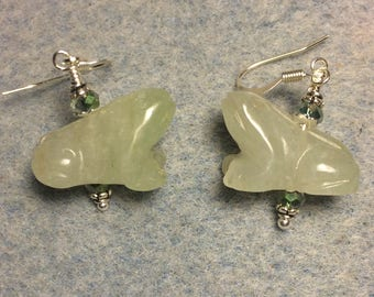 Vintage carved green aventurine gemstone frog bead earrings adorned with green Chinese crystal beads.