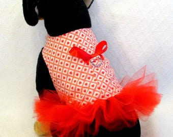 """Dog Harness Dress """"fully lined with d ring"""" Tutu RED HEARTS Handmade Ready to Order Small"""