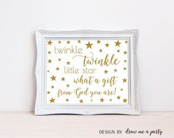 Twinkle Little Star What A Gift From God You Are Gold Nursery Wall Art, Star Baby Shower Printable Decor Birthday Sign Gold Glitter- STG03