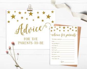 Baby Shower Advice Card, Advice For Parents To Be, Twinkle Twinkle Little Star Baby Shower Game, Gold Glitter, Shower Decor, Printable - SG1