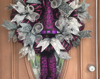 Sale! Witch Wreath, Halloween Wreath, Purple Witch Wreath, Halloween Wreath, Wicked Witch Wreath, Front Door Wreath, Halloween Door Wreath