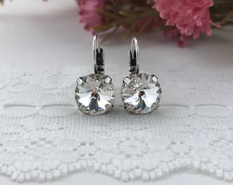 Swarovski Earrings, Swarovski clear crystals, Swarovski Rivoli Crystals, 10.5mm crystals, Crystal Earrings