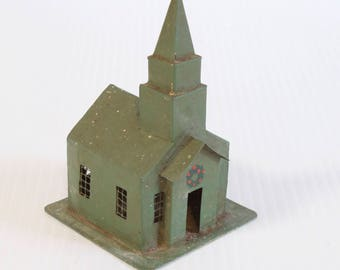 Vintage Miniature Church decorated with Christmas wreath