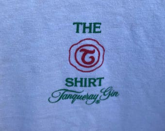 Vintage 80's Tanqueray Gin Martini Promo Graphic T Shirt sz M