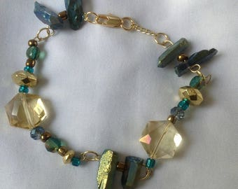 Blue and gold wire bracelet