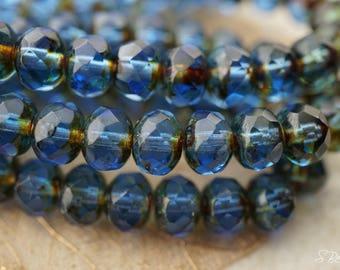 Saphire Bliss, Rondelles, Czech Beads, Beads, N2007