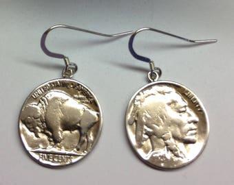 Vintage 1928 Buffalo Head Nickel Earrings in Sterling Silver