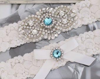 Wedding Garter Set, Bridal Garter Set, Lace Wedding Garter Set, Rustic Wedding Garter, Blue Wedding Garter, Vintage Bridal Garter,