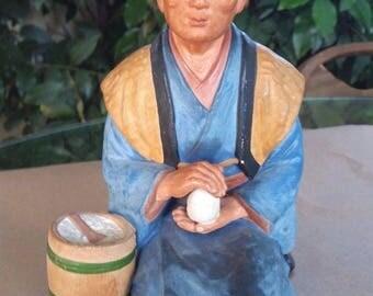 "VTG Japanese "" Hakata Urasaki Doll "" / Old Woman Making Rice Balls / JAPAN 1953"