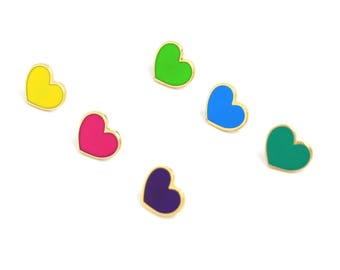 Heart Enamel Pins, Rainbow Heart Jewelry, Valentines Day Gift for Her, Neon Heart Pins, Enamel Pin Set, Rainbow Lapel Pin Set, Neon Rainbow