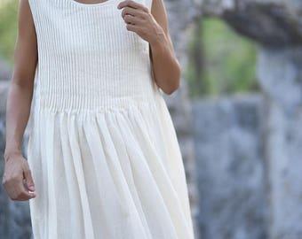 Small Corum, Pure handloom Khadi Cotton Dress in in Natural Colour