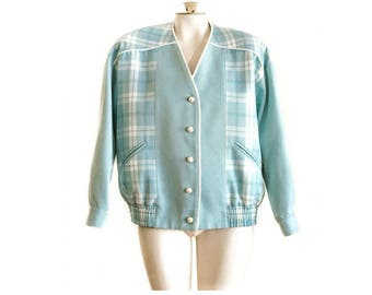 Mint blue plaid jacket with pearl buttons