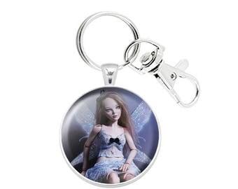 Pocket Fairy Lola BJD Blue Fantasy Keychain Pendant 3D Dome Cabochon Paperweight Silver Plated handmade OOAK Sculpture Art Print Miniature