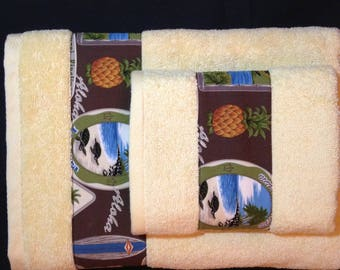 Hawaiian Print Bath & Hand Towel Set of 2
