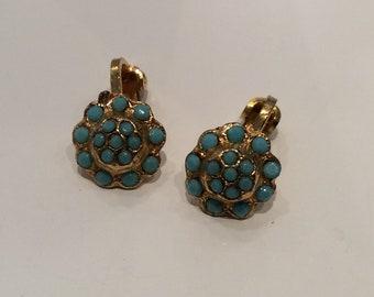 Tiny blue daisy clip on earrings