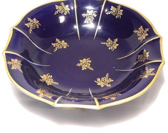 Lindner Bavaria, Echt Cobalt, 22k Gold, Footed Bowl, Rose Swirl, Fine China, Germany, Dining, Dinnerware, Serving Bowl