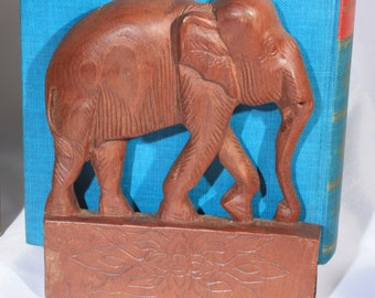 Carved Wood Elephant Bookends, Folding Book Stand