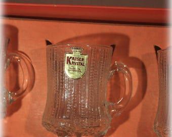 Set of 6 Handcut Kaiser Krystal Cordial Mugs, Crystal Glasses, Barware