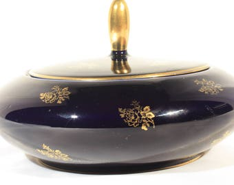 Echt Cobalt Lindner China Covered Candy Dish, 22k Gold Rose Flowers on Cobalt Blue
