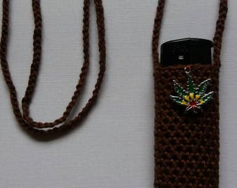 Rastafari, brown. Handmade crochet lightercozy.