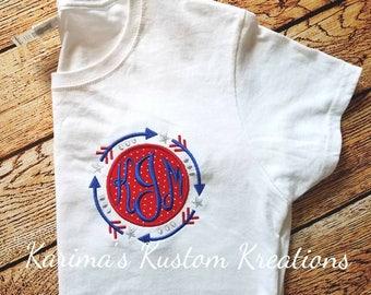 Arrow Monogram, women's monogram shirt, Women's embroidered shirt,4th of july shirt, short sleeve monogram tee, gift for mother