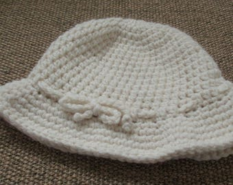 Hand Crocheted Brimmed Hat | Irish Made Hat | Pure Wool Irish Hat | Crochet Hat with Brim | White Crocheted Hat | Traditional Style Hat