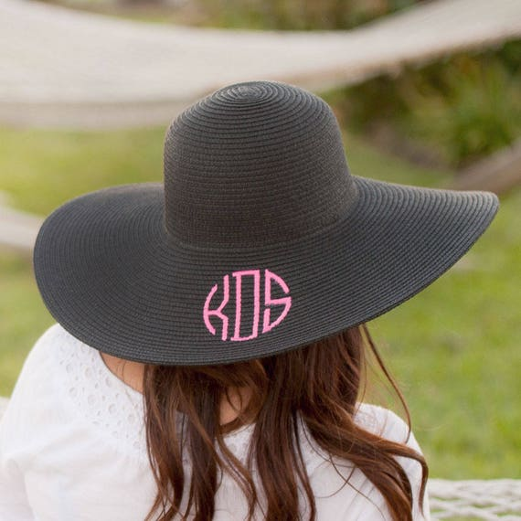 SALE - Black Monogrammed Floppy Hat